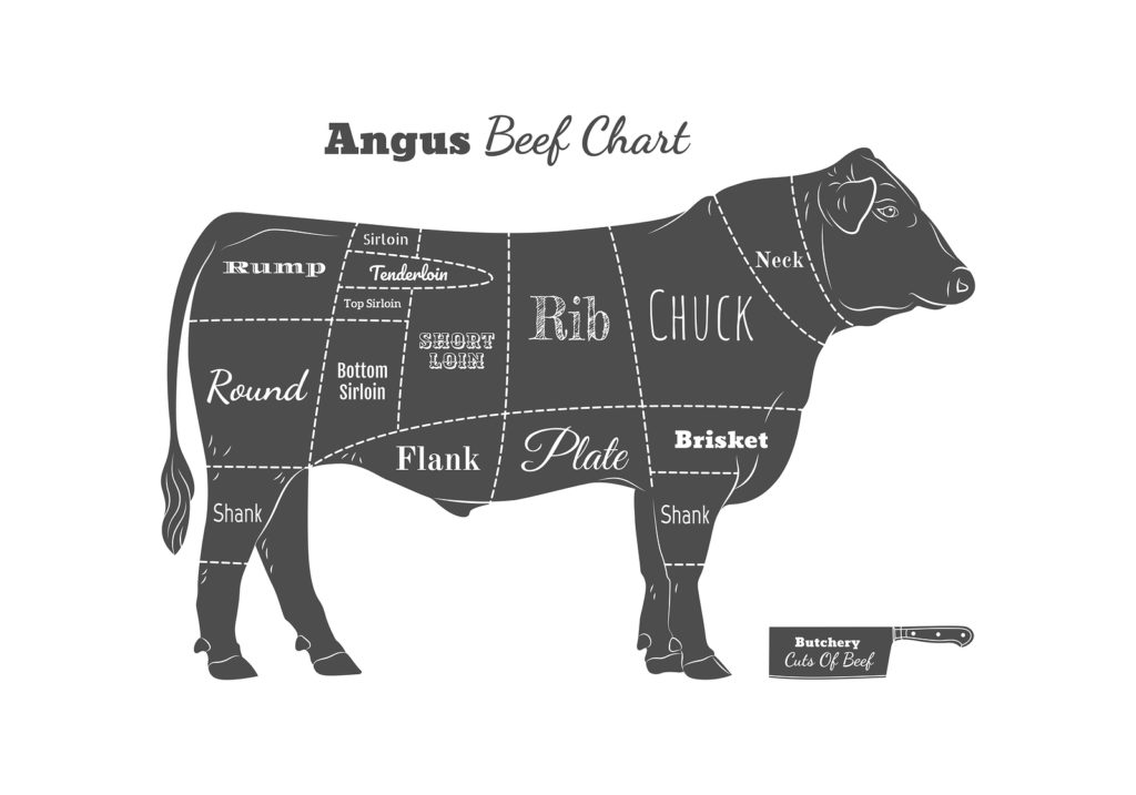 Butchery Cuts Of Beef Chart. Vintage Style.